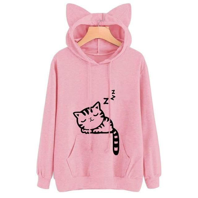 aca23360f18b7 Cute Womens Sweatshirts Hoodie Crop Tops Solid Cat Ear Long Sleeve Cropped  Sweatshirt Hooded Pullover
