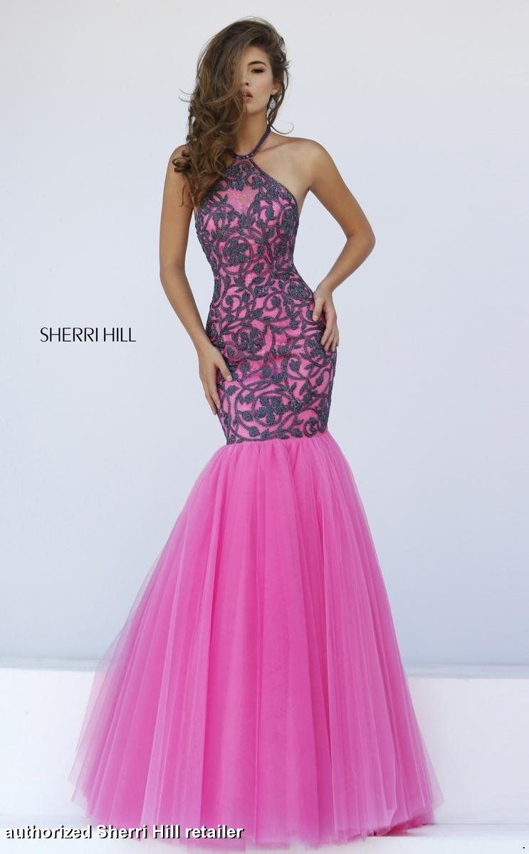 50015 Sherri Hill. Mermaid style prom dress. bright pink prom dress ...