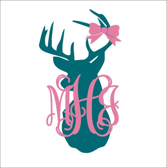 Deer head car decal vinyl decal car window decal personalized monogram buck deer head monogram preppy girly car decal