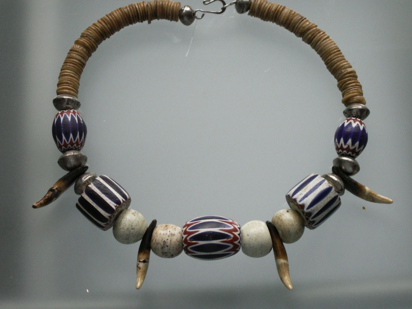 Traditional African necklace-antique chevron beads-animal teeth ...
