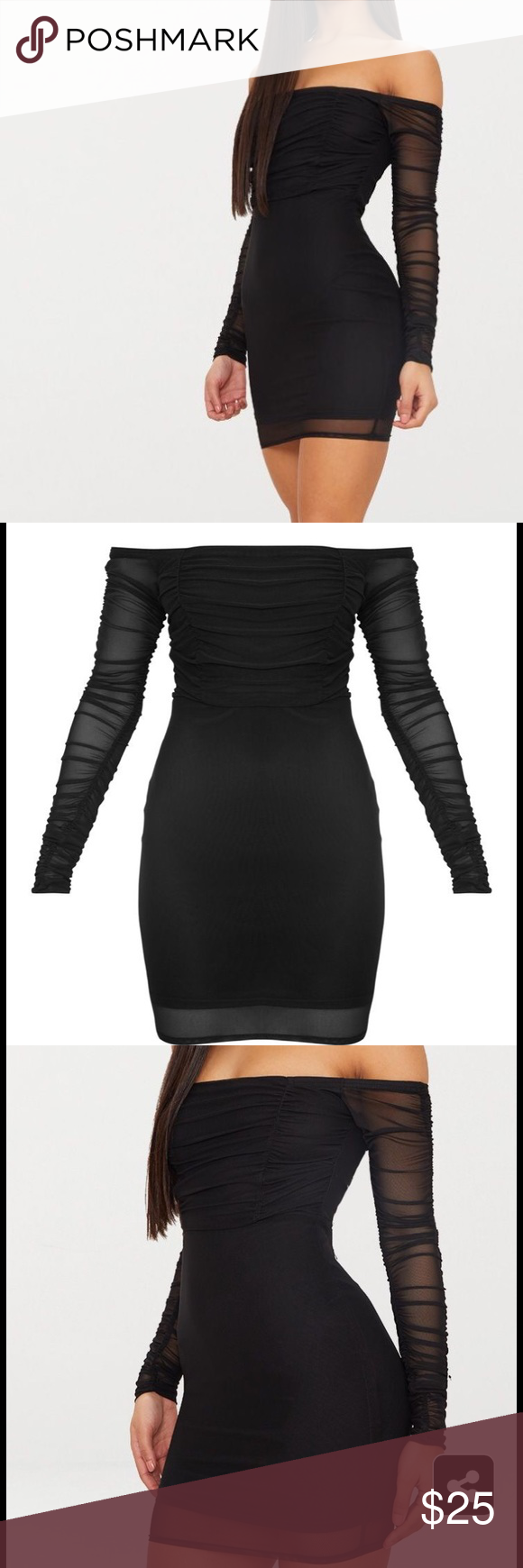 bbfa4cce71 Pretty little thing mesh Bardot bodycon dress Black ruched mesh Bardot  bodycon dress. Very flattering on curves. Worn once. Dress is still on site  for full ...
