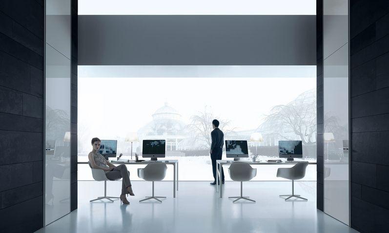 Tavolo Rimadesio ~ Flat tavolo in vetro e alluminio complemento arredo mobile zona