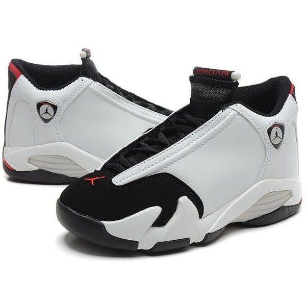 Air Jordan 14 Women Shoes White Black ❤ liked on Polyvore