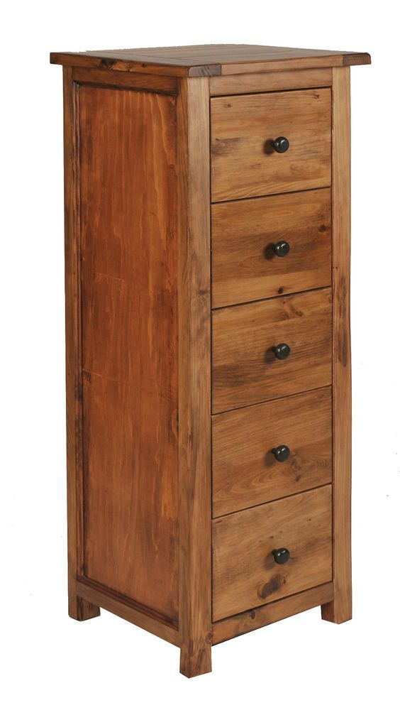 Chest Of 5 Drawers Narrow Dark Wood Tall Deep Drawers Premium