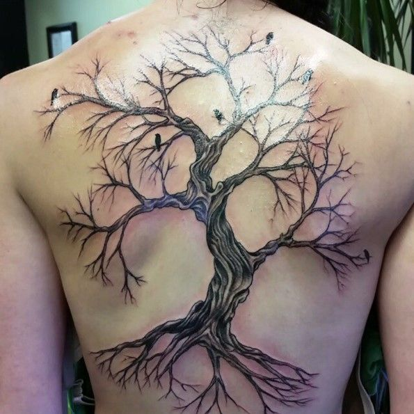 4b1ff2eb1 45 Insanely Gorgeous Tree Tattoos on Back | 山川森林 | Tree tattoo ...