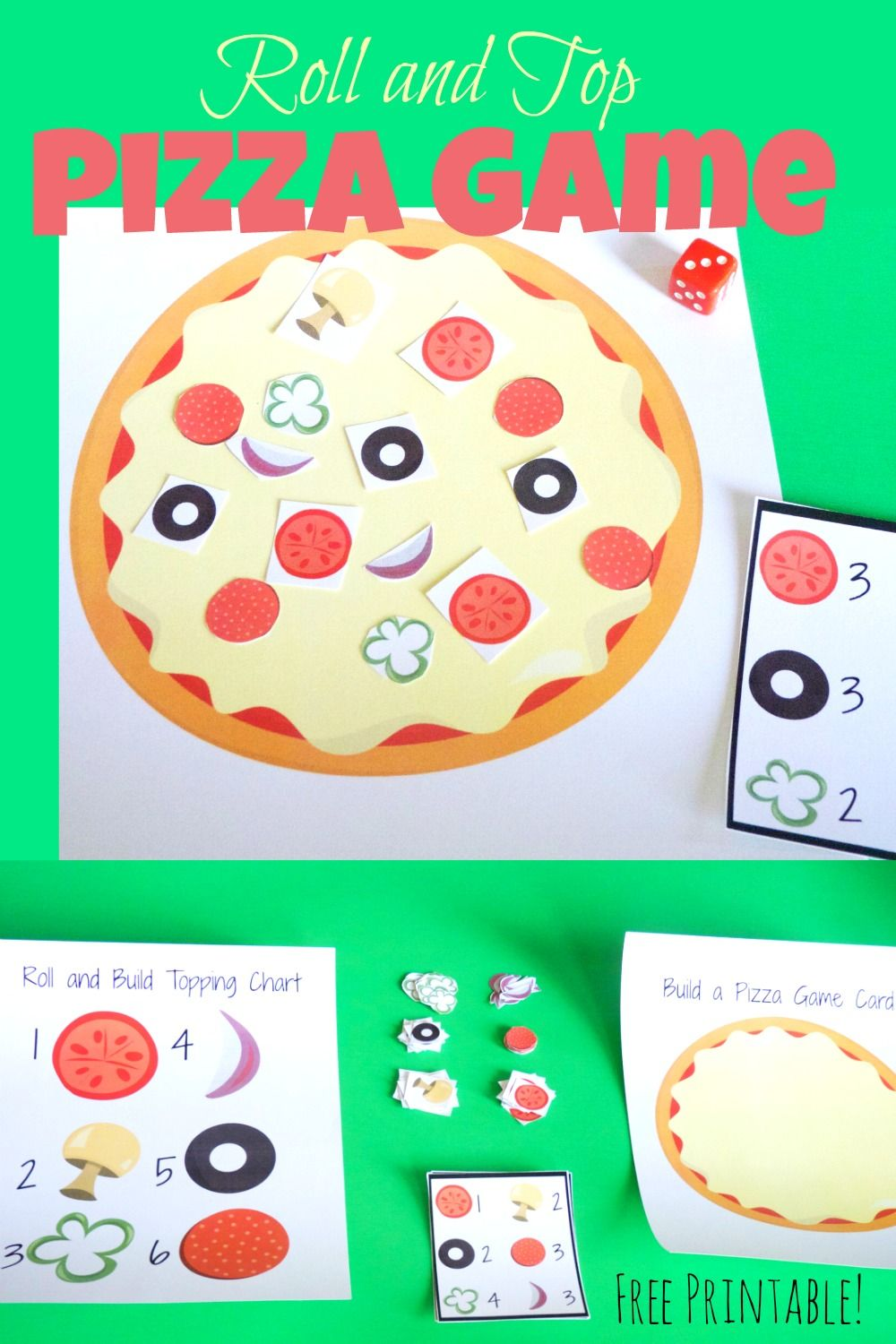 Roll And Top Pizza Game Pizza Games Pizza Party Games Pizza Craft [ 1500 x 1000 Pixel ]