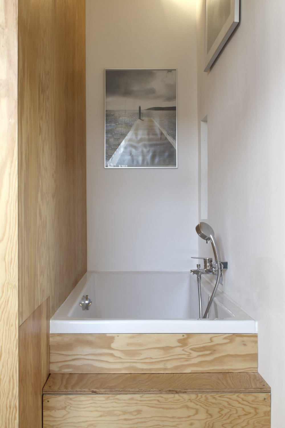 Photo 9 Of 9 In Clever Storage Abounds In This Tiny Pine Wrapped Modern Bathroom Design Modern Bathroom Small Apartments