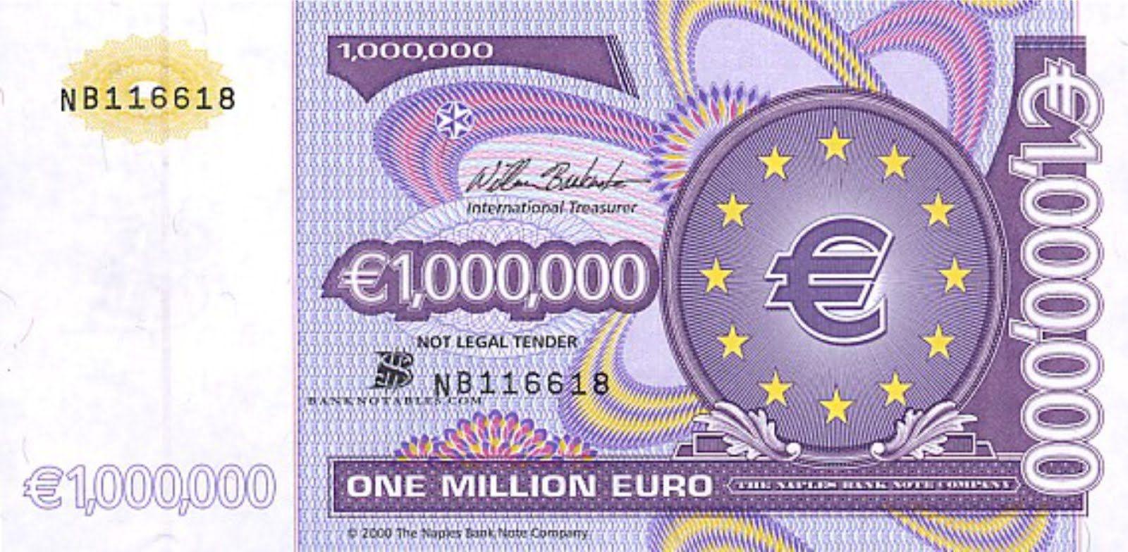 1 Million Euro Note Obverse