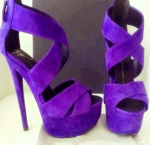 purple high heeled shoes
