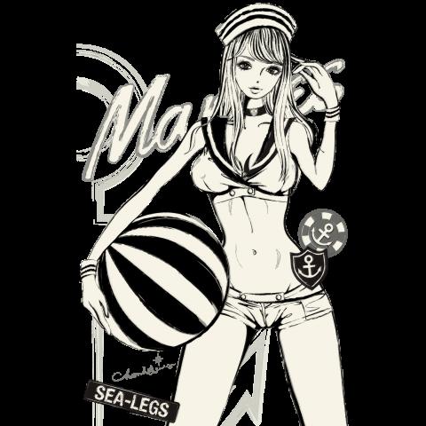 MARINE WHITE 白のセーラー ガールズイラスト | デザインTシャツ通販 T-SHIRTS TRINITY(Tシャツトリニティ)
