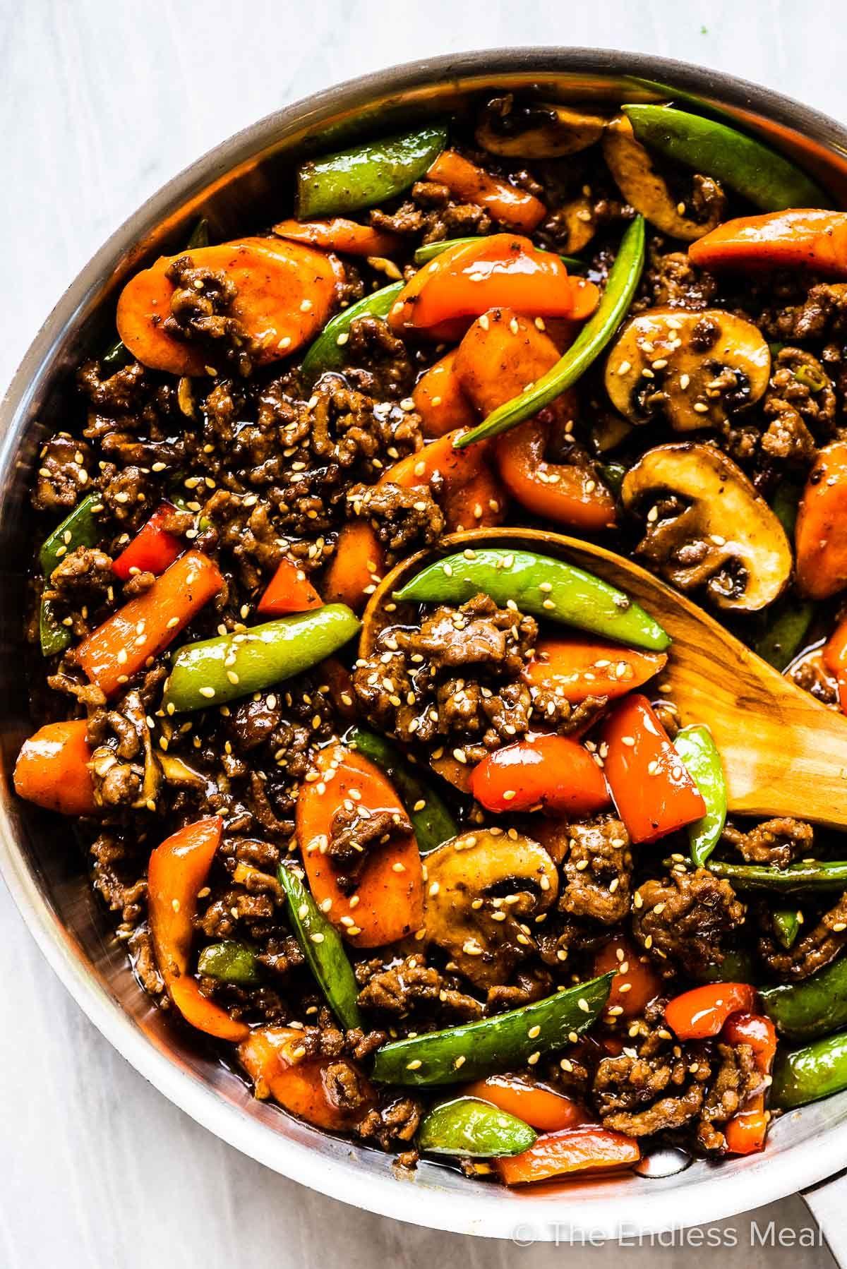 Ground Beef Stir Fry With Garlic Ginger Sauce Recipe In 2020 Beef Stir Fry Good Healthy Recipes Ground Beef