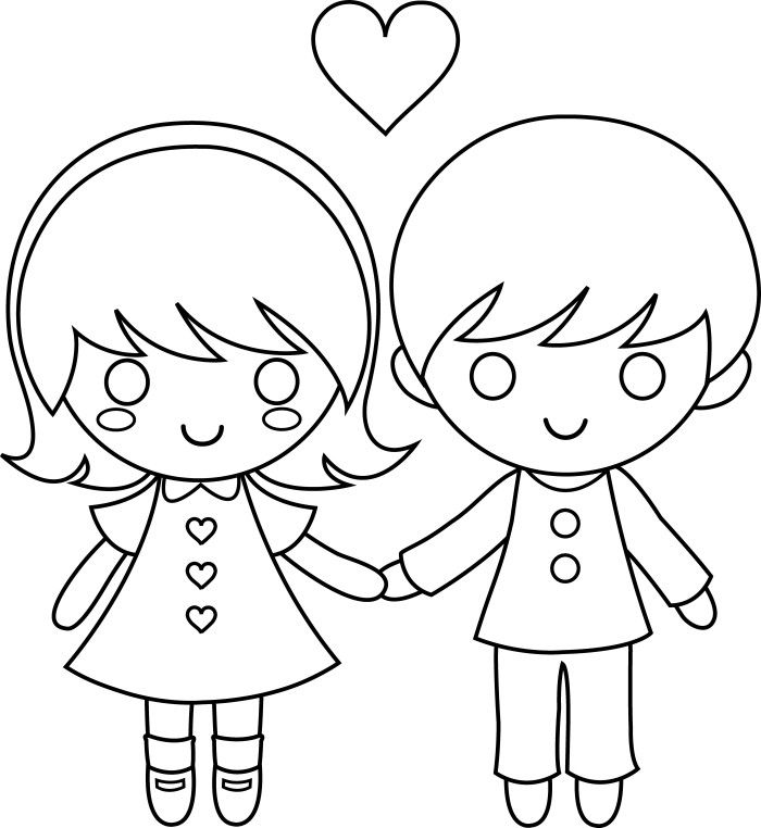 Kids Cartoon On Love Valentine Coloring Pages | Dibujos para pintar ...