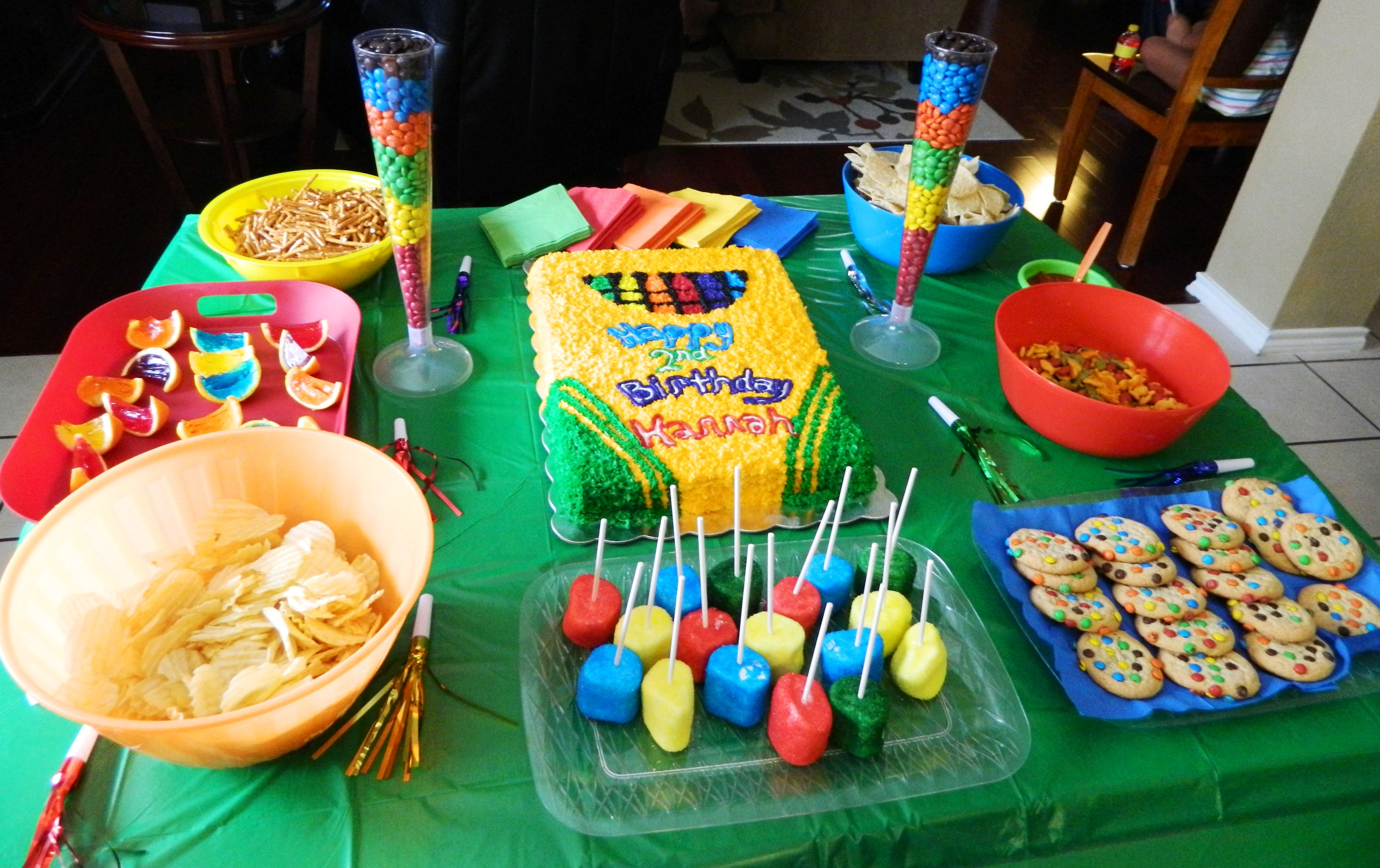 Crayola Or Crayon Themed Birthday Party For 2 Year Old Snacks MMs Chips