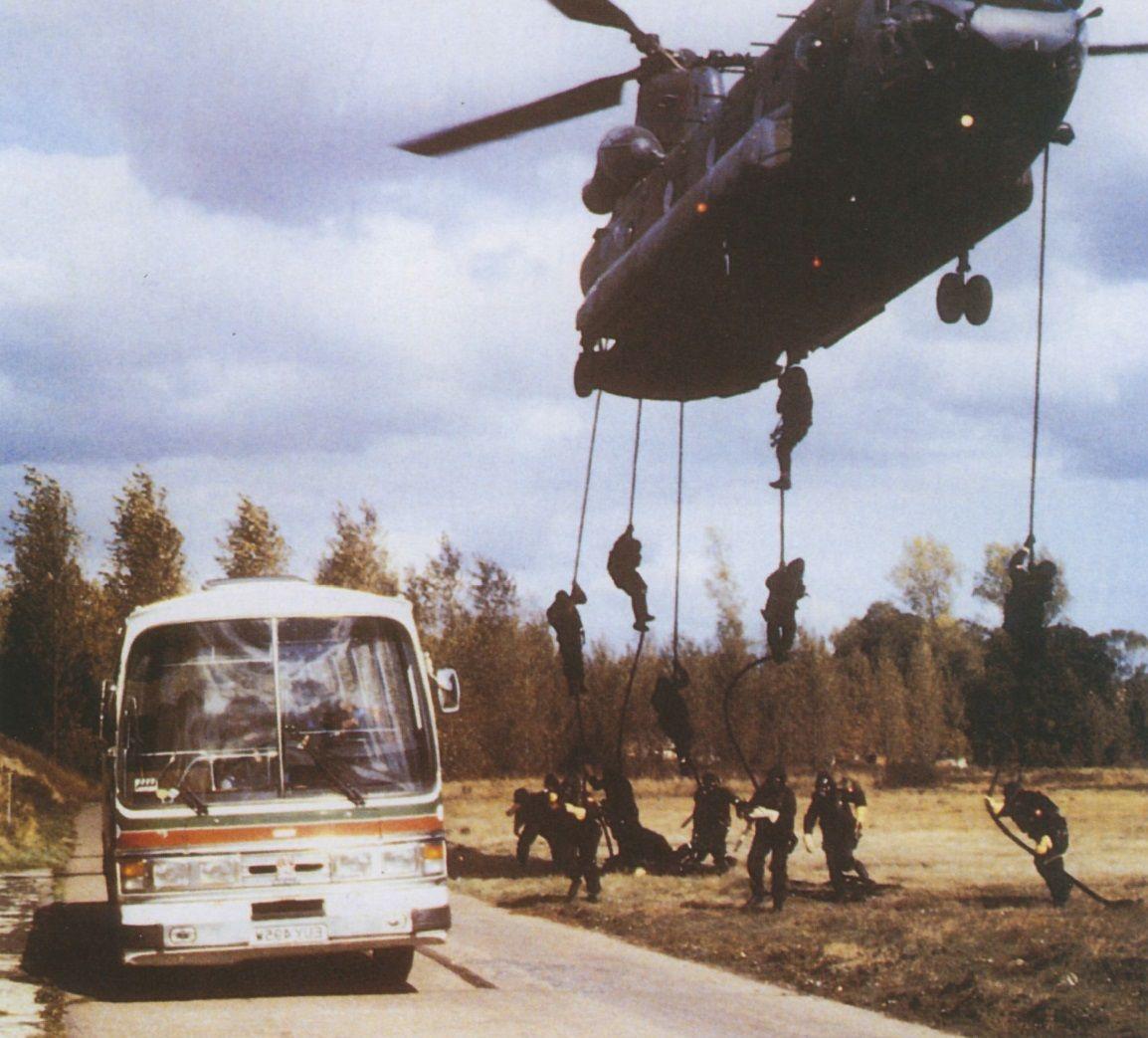 British SAS Bus takedown training, 1980s Military