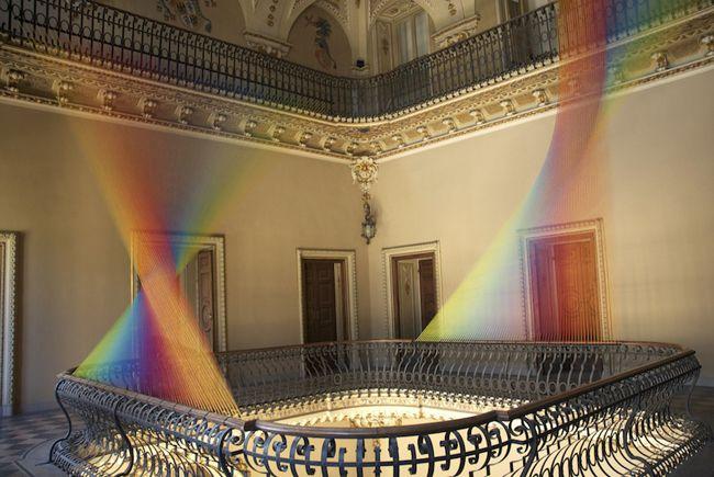 Gabriel Dawe, Plexus, Epistrophy, Colorful Fabric Installation, Villa Olmo in Como, Staircase Installation Front, Plexus No.19