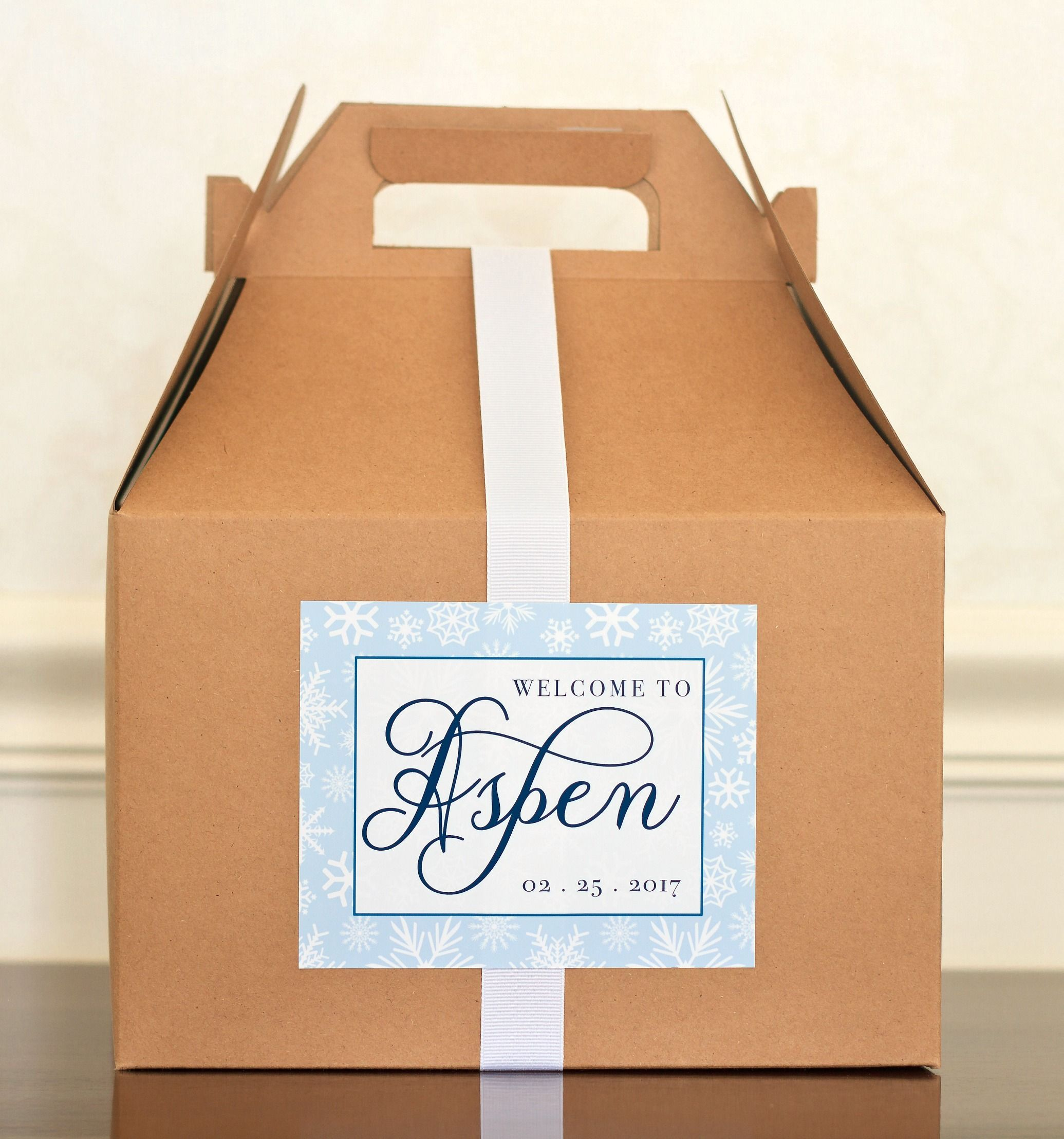 winter wedding welcome box labels. mountain wedding gift bag