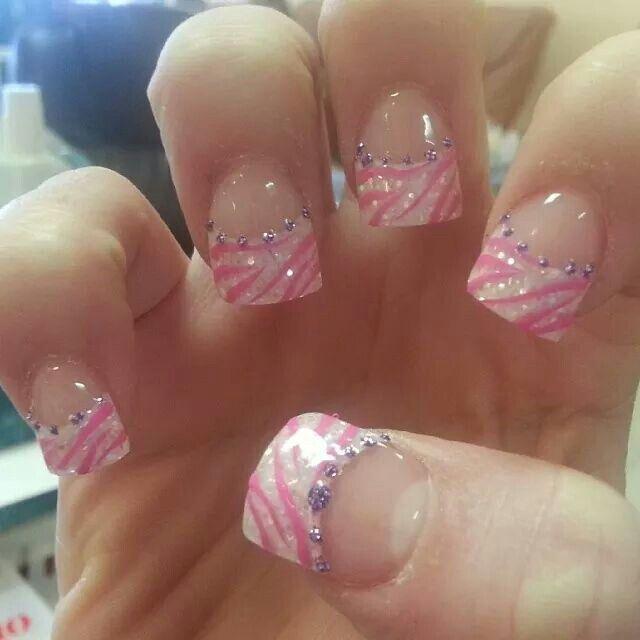 zebra diva - glitter tips acrylics