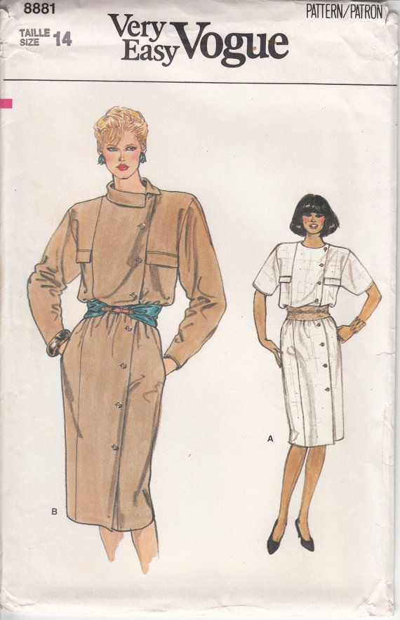 Very EASY VOGUE Dress Sewing Pattern 80s Asymmetrical Button Front ...