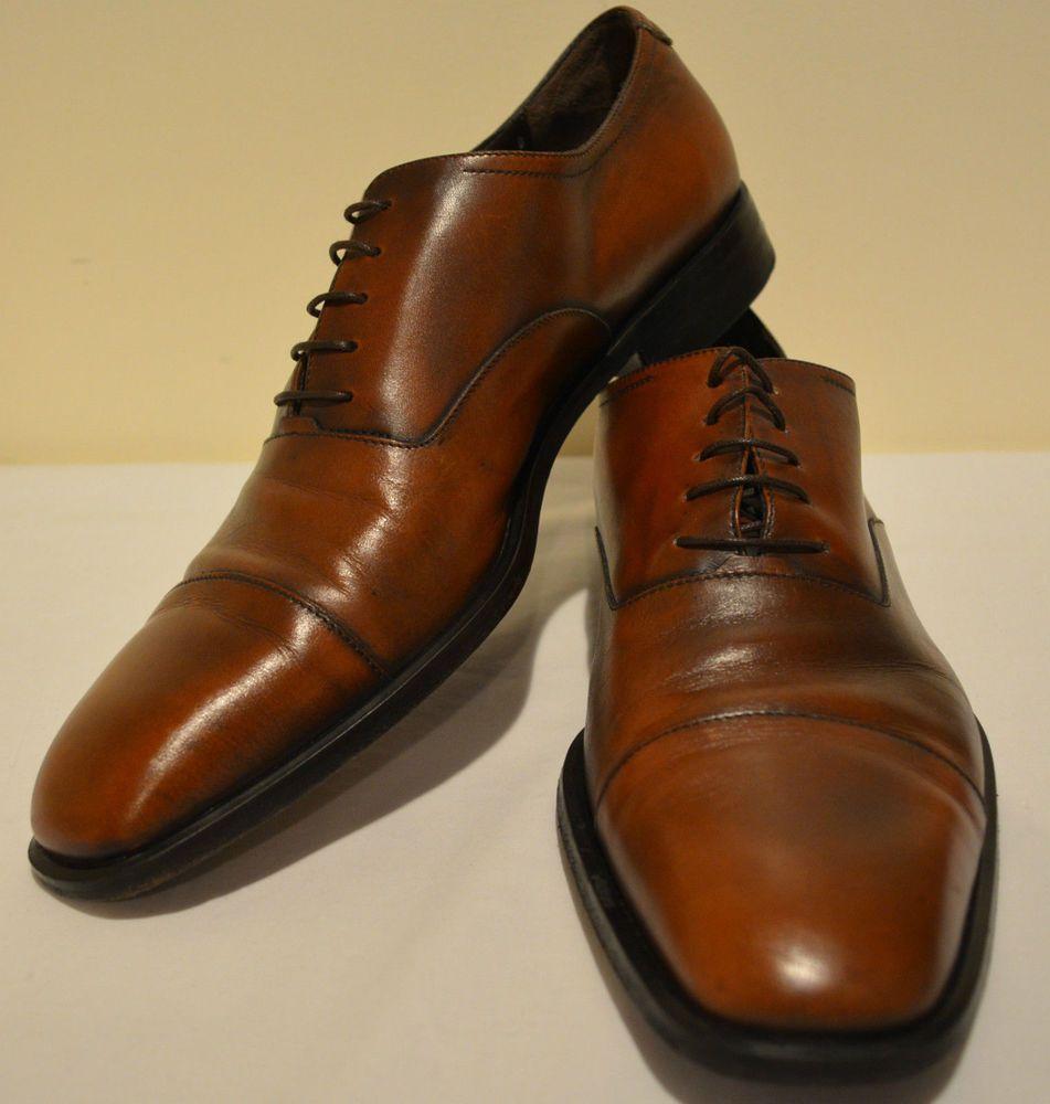 67909062919 Men s 11 D Salvatore Ferragamo Studio Italian Leather Cap Toe Oxfords Dress  Shoe  SalvatoreFerragamo  Oxfords