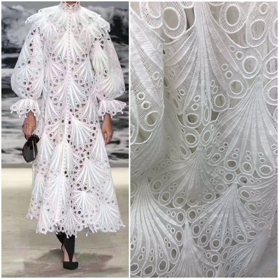 Elengant white lace fabric , cotton lace fabric,High quality cord lace , fashion show white guipure