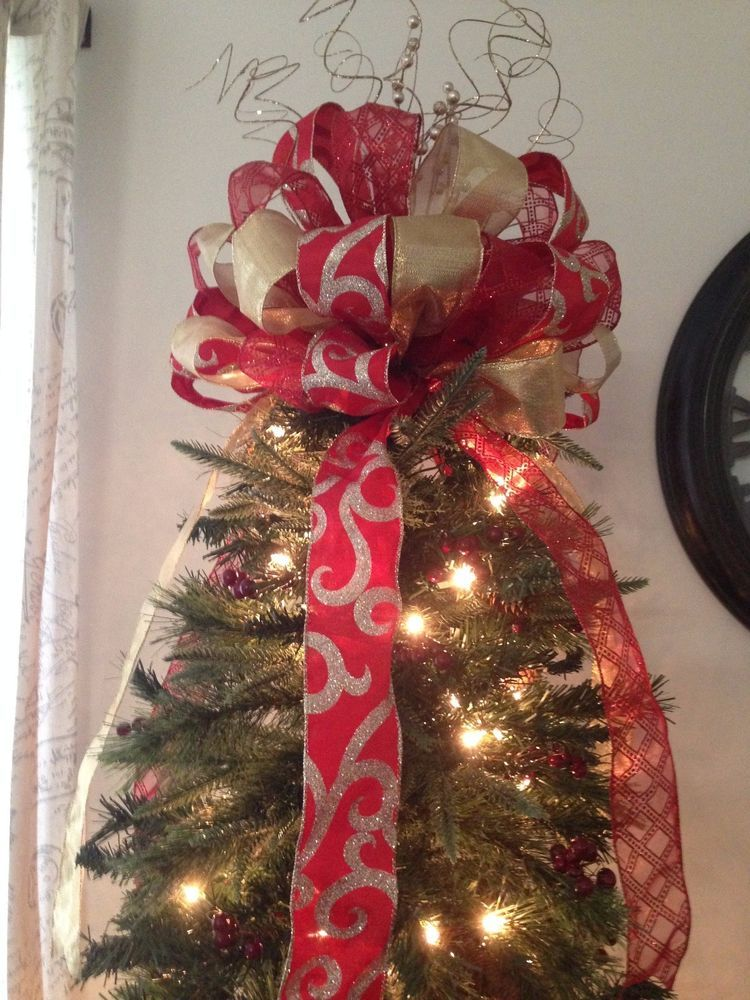 Large Red And Gold Christmas Bow Ribbon Tree Topper Fast Shipping Unbranded Christmas Tree Bows Christmas Tree Topper Bow Christmas Tree Toppers
