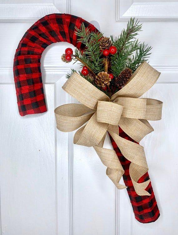 Buffalo Check Candy Cane Wreath, Candy Cane Decor, Candy Cane Door Hanger, Candy Cane Wall Hanger, Holiday Wreath #smallapartmentchristmasdecor