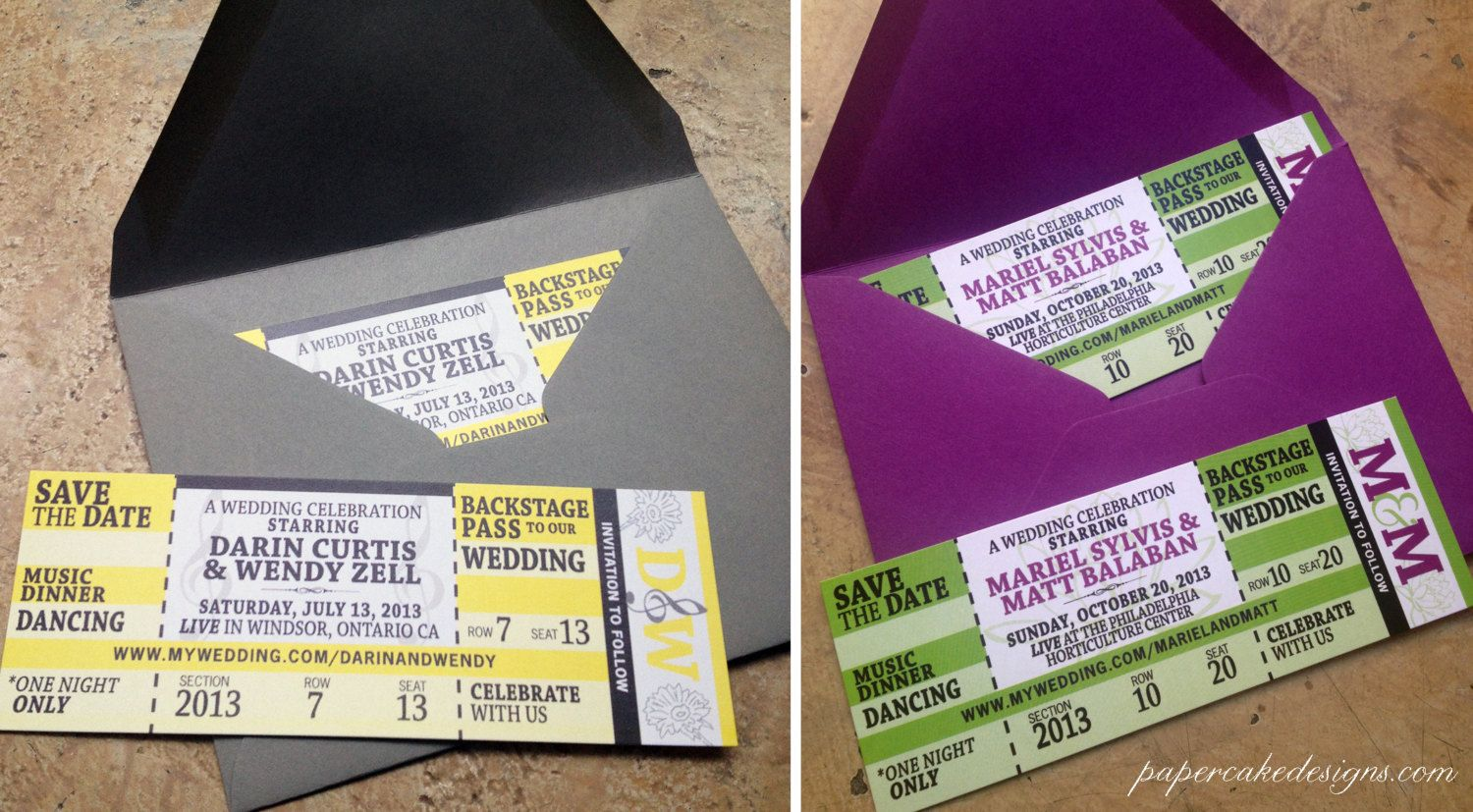 Concert+Ticket+Wedding+Save+The+Date+Birthday+by+papercakedesigns,+$2.00