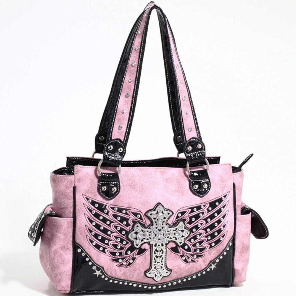 7b880c4708 Designer INspired Western Fashion Handbag w/ Rhinestone Cross ...