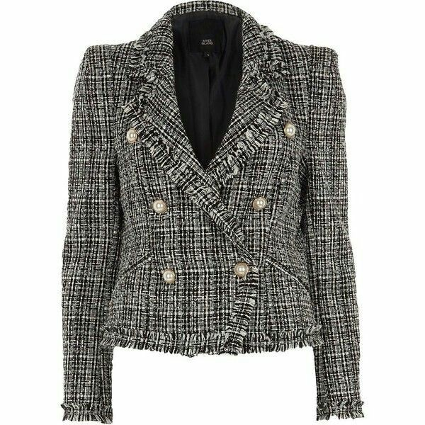 b67ac13ddb1 River Island Black pearl double breasted boucle jacket | Jackets ...