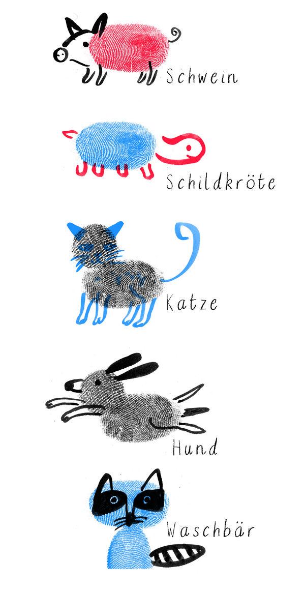 Tierbilder Mit Fingerabdrucken Fingerprint Child Kinder