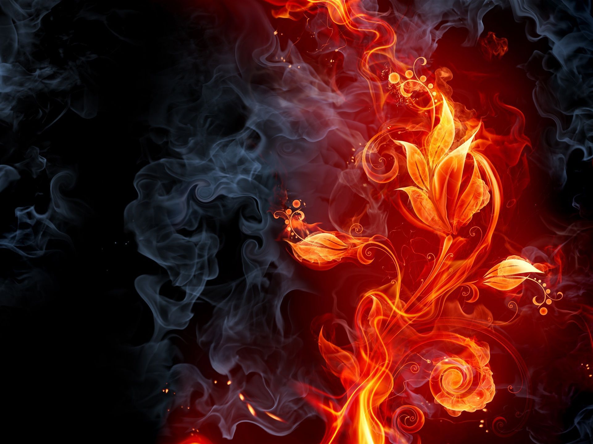 4k Wallpaper Abstraction Flower Smoke Fire 4000x3000 Fire Flower Flower Wallpaper Smoke Background