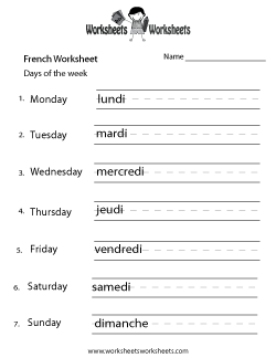 french days of the week worksheet french worksheets pinterest worksheets french. Black Bedroom Furniture Sets. Home Design Ideas
