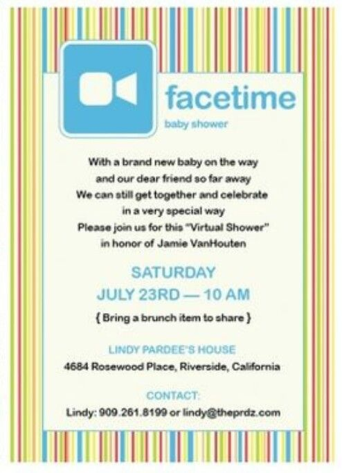 Facetime Baby Shower Invite Virtual Baby Shower Pinterest