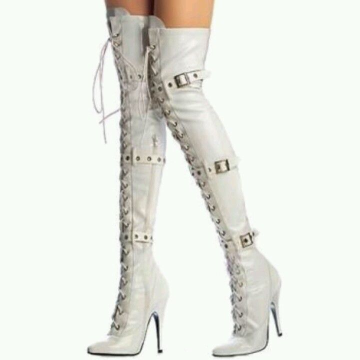leather thigh high boots White