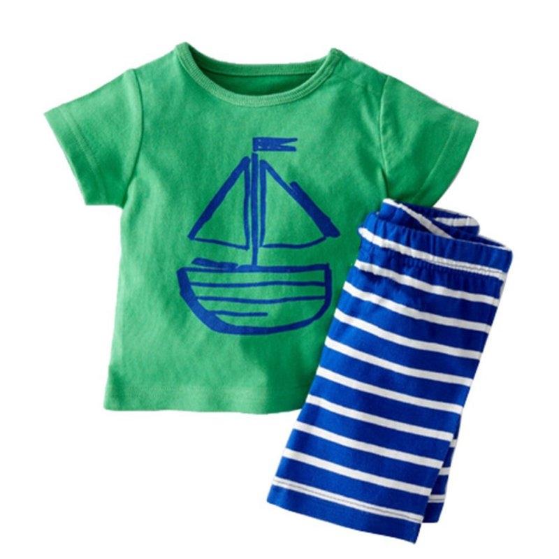 4.41$  Watch here - http://aliedp.shopchina.info/go.php?t=32799369008 - Kids Boy Cartoon Clothing 2 PCS Set Kids Baby Boy Summer Clothes Sets Pirate Ship Printed T-Shirt+ Stripe Pant  #magazineonline