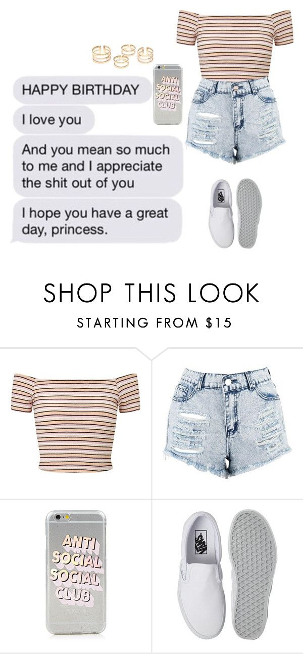 """""""niver da minha bae ♡"""" by lausantos ❤ liked on Polyvore featuring Miss Selfridge, Boohoo and Vans"""