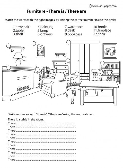 Furniture - There Is / There Are B&W worksheets | English ...