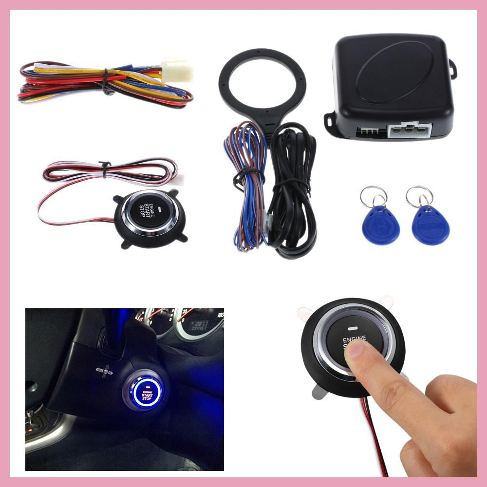 Auto Car Alarm Engine Starline Push Button Start Stop Rfid Lock Mobil Ignitaion With Remote Keyless Entry System Black Ignition Switch