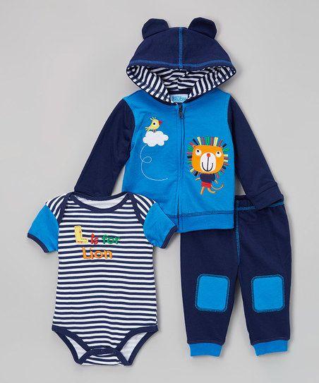 Nûby Brilliant Blue & Medieval Blue L Is for Lion Bodysuit Set   zulily