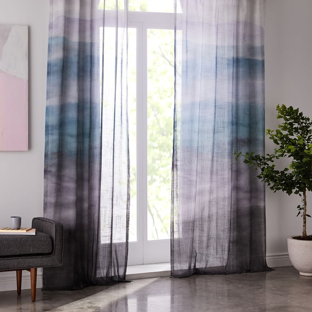 Sheer Cotton Painted Ombre Curtains (Set of 2) - Moonstone | Cove ...