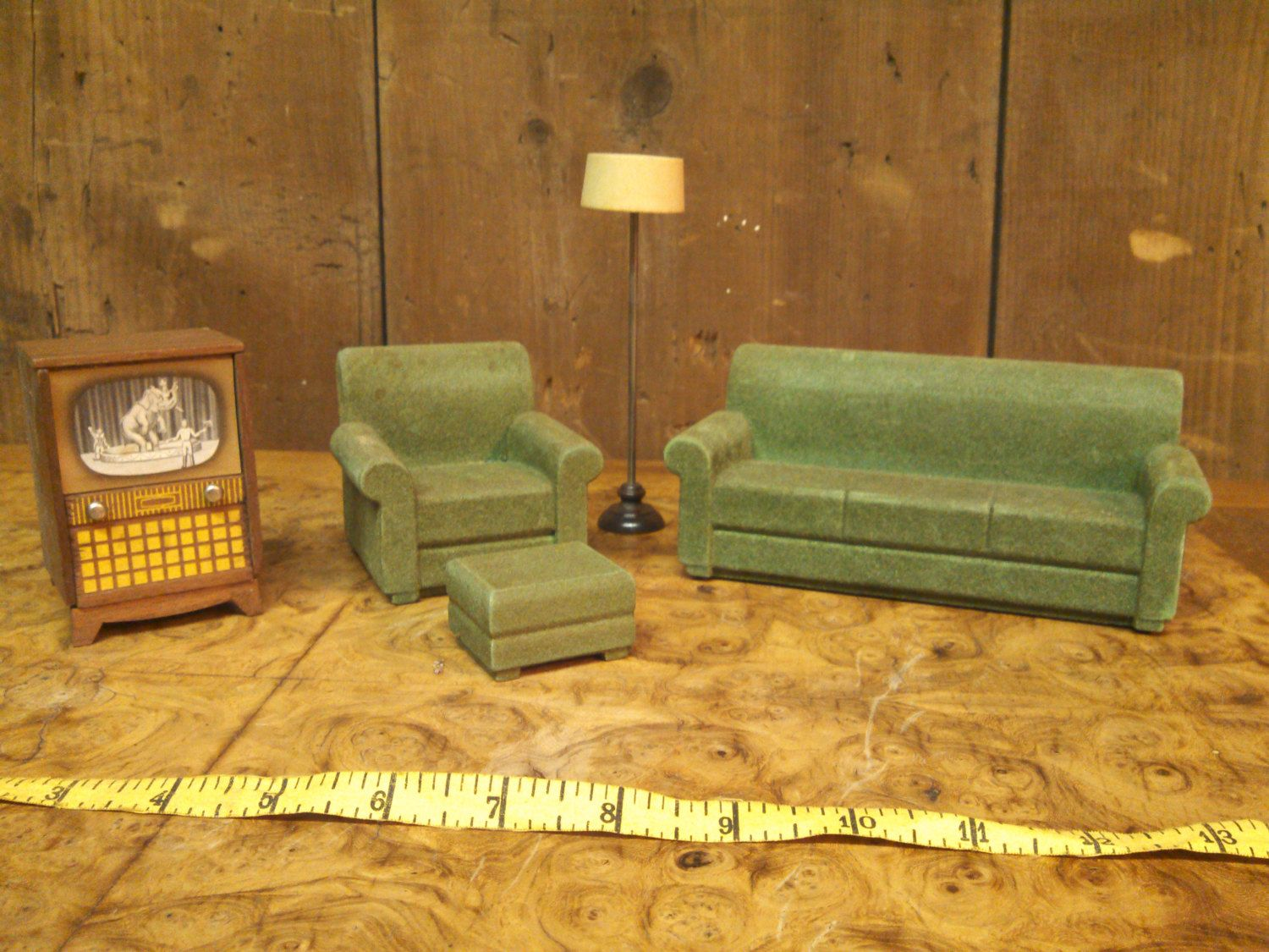 1953 Strombecker Living Room Set Vintage Dollhouse Furniture