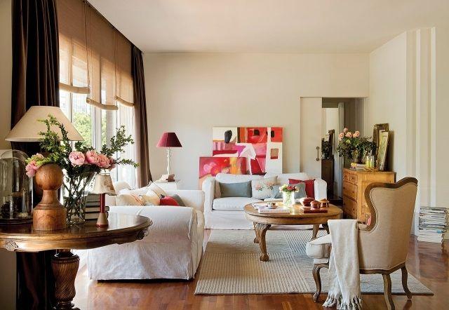 Idee Wohnzimmer Landhausstil Modern Massivholzmöbel Weiße Sofabezüge