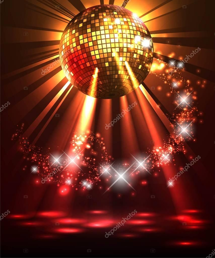 Modern illuminating disco ball sphere with spotlights