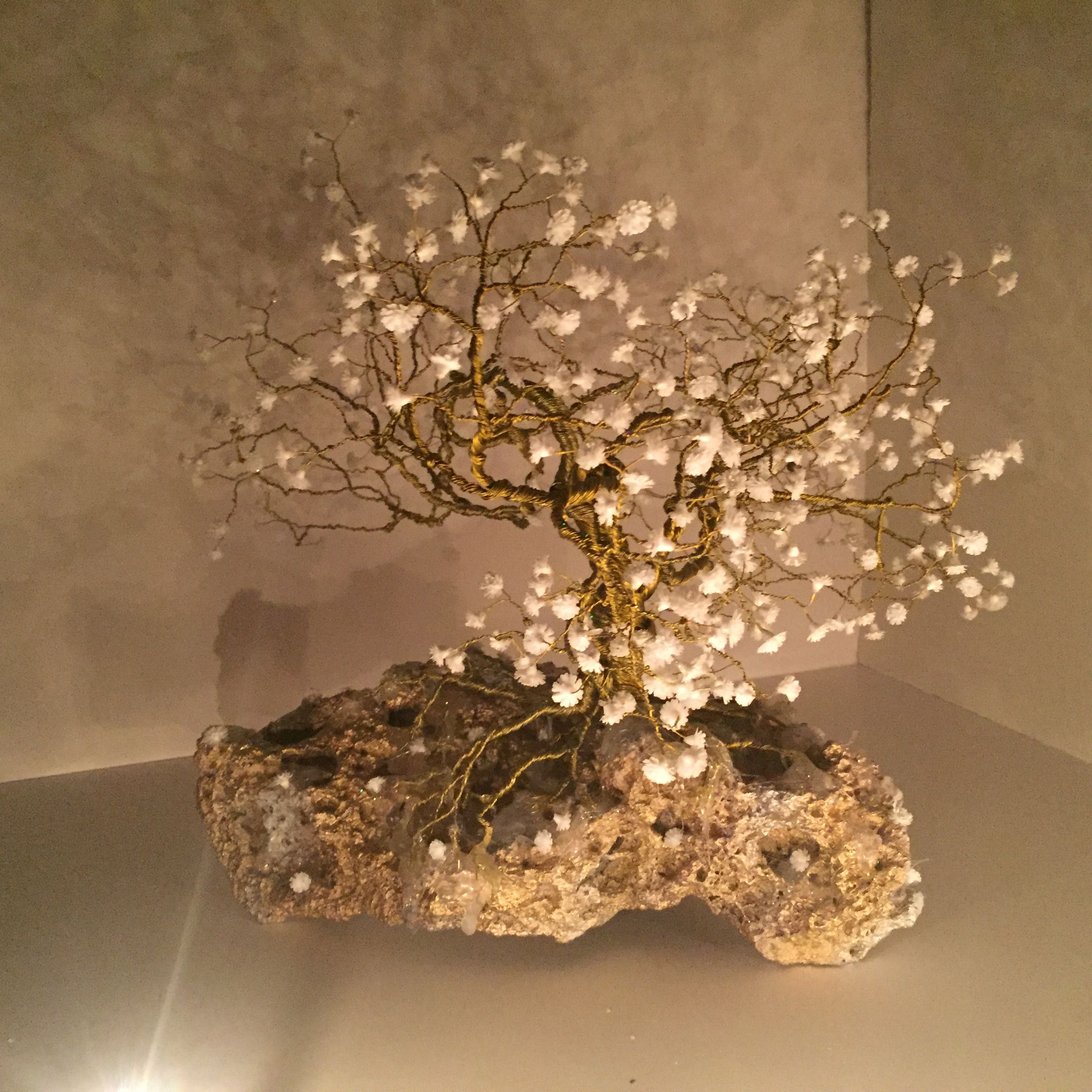 Flowering Dogwood Tree Of Life Handmade Golden Wire Wrapped Tree Of