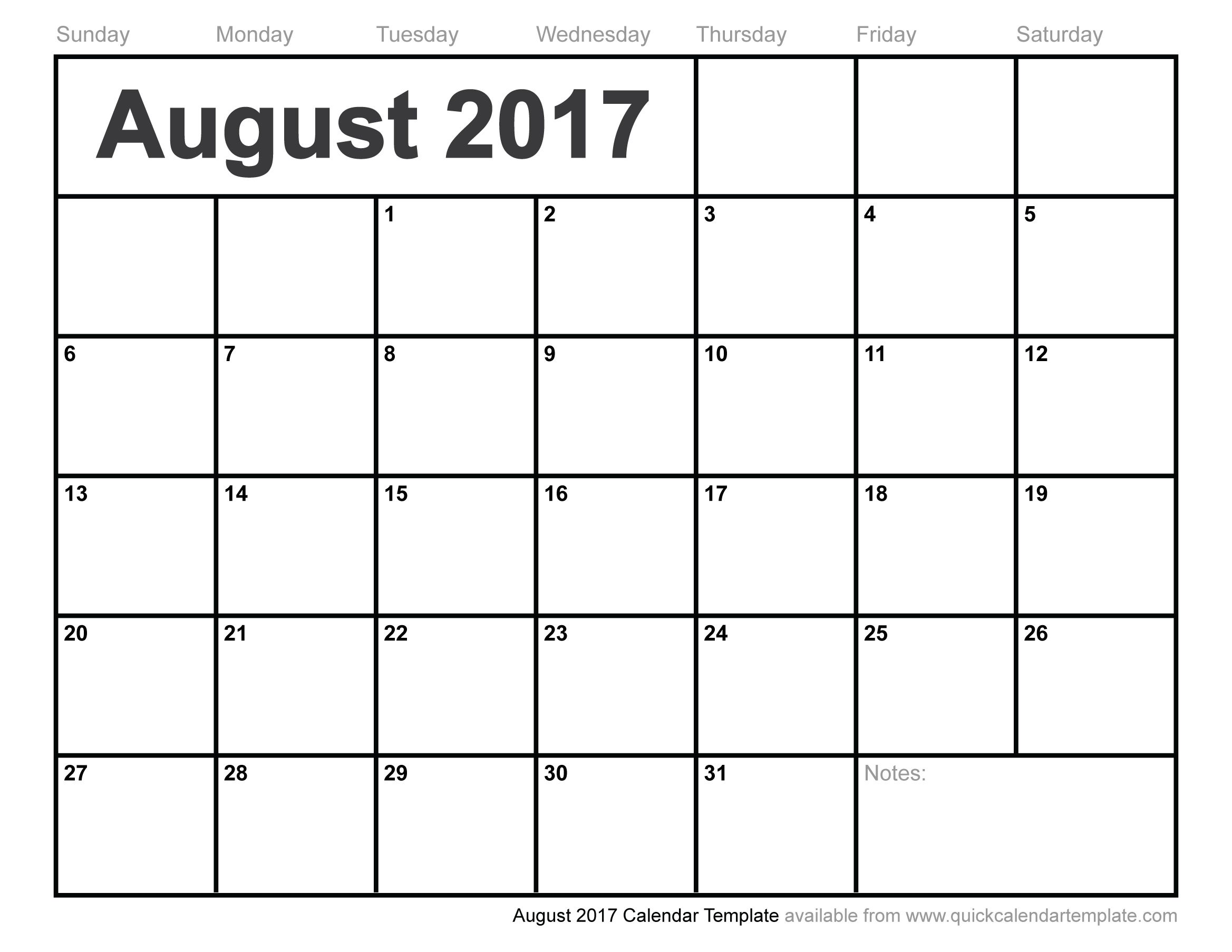 2017 calendar by month template
