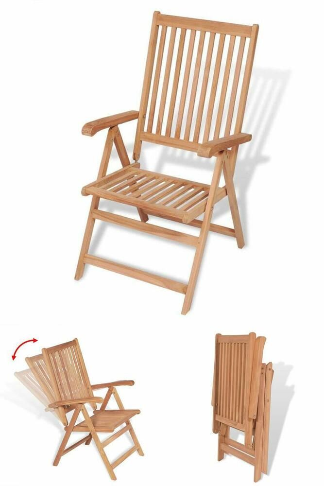 Folding Patio Dining Chairs Wooden Reclining Seats Camping ...