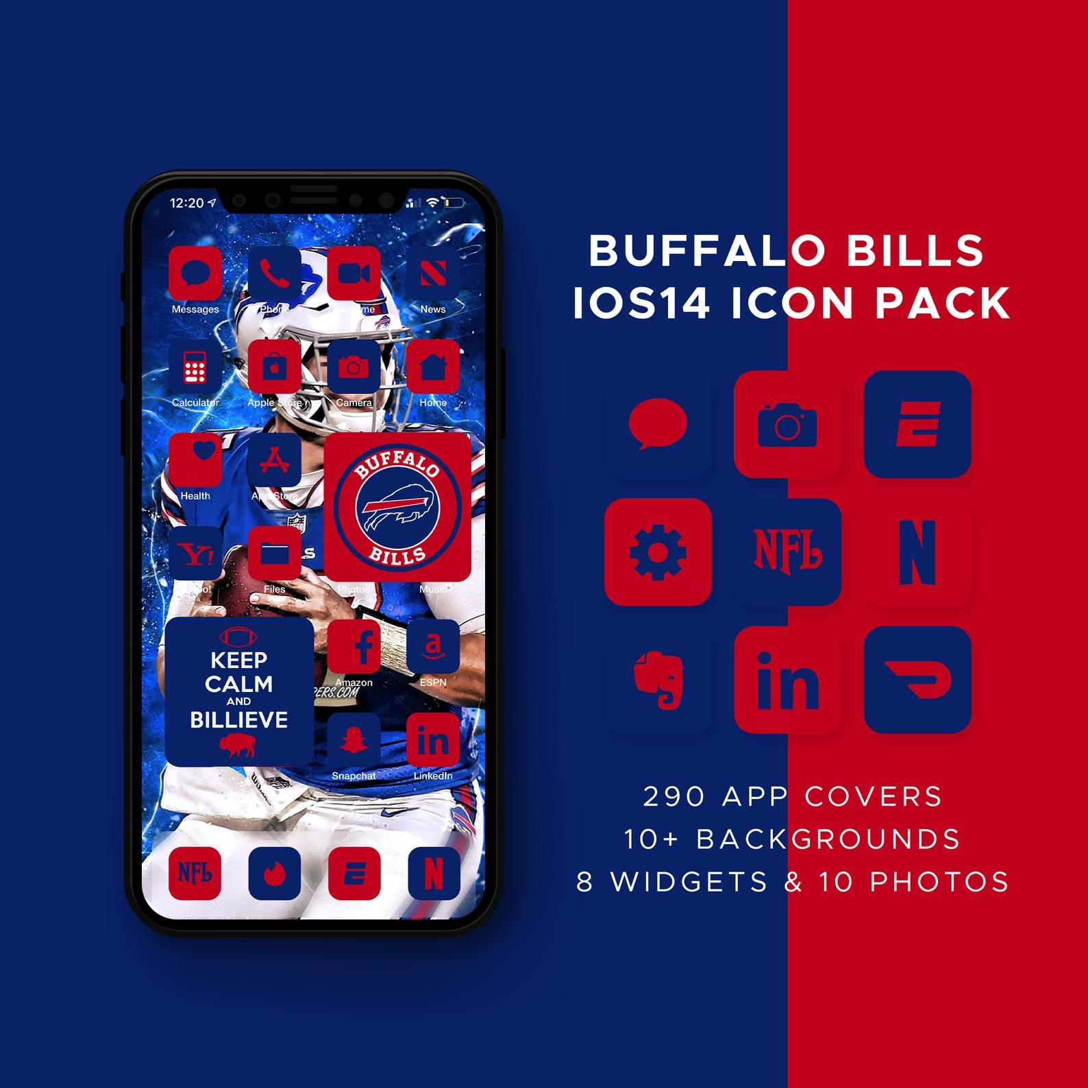 Buffalo Bills Ios14 Icon Theme Pack Ios14 Icons Bundle Ios Etsy In 2021 Buffalo Bills Ios14 Icon Icon