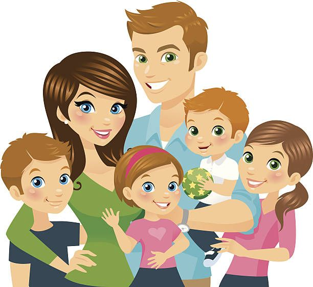 Illustration Of A Cartoon Loving Family Vector Art Illustration