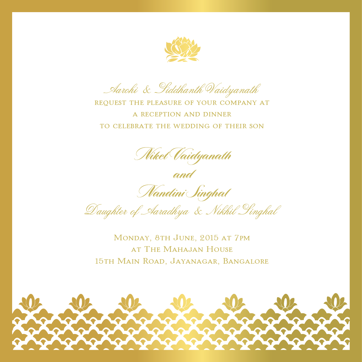Elegant Gold Border And Motifs On Indian Reception Invitation Cards