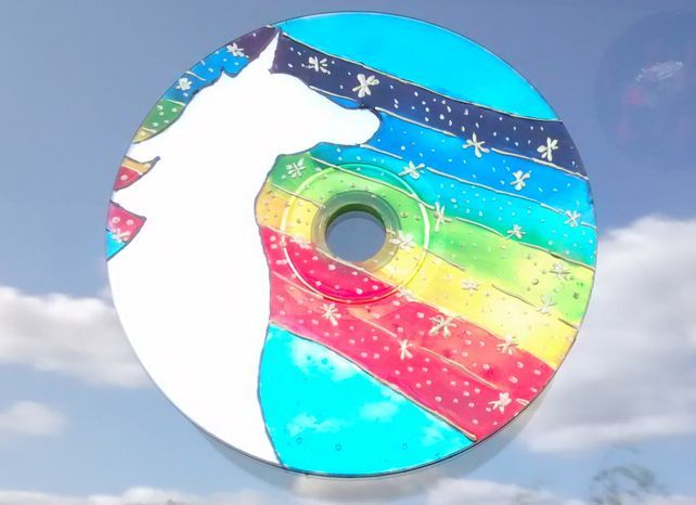 Rainbow Unicorn window decoration. Handmade from Recycled CD. Eco friendly #recycledcd Rainbow Unicorn window decoration. Handmade fro... - Folksy #recycledcd